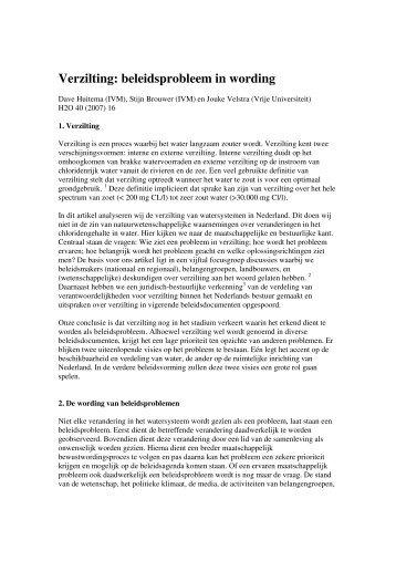 Verzilting: beleidsprobleem in wording - Acacia Water
