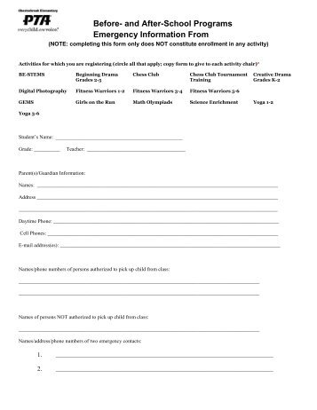 Emergency Contact Form, Elementary School