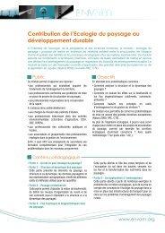 Contribution de l'Ecologie du paysage au développement ... - Ecobio