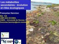 Les métabolites secondaires - Ecobio - Université de Rennes 1
