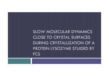 slow molecular dynamics close to crystal surfaces