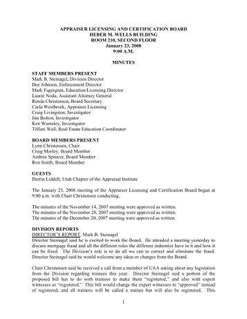 Appraiser Licensing & Certification Board Meeting - Utah Division of ...