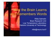 How the Brain Learns and Remembers Words - Low Temperature ...