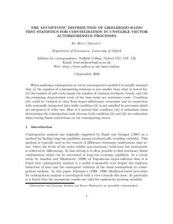 Asymptotic distribution for likelihood ratio test statistics - University of ...