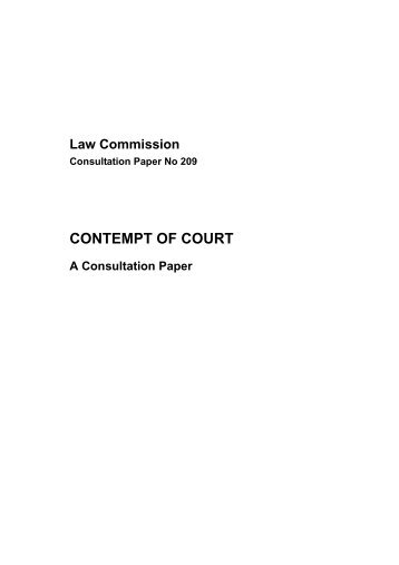 Contempt of Court Consultation Paper - Law Commission - Ministry ...