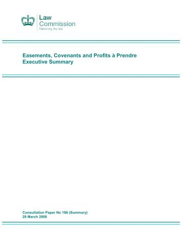 Easements Consultation Summary - Law Commission