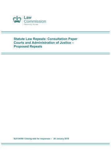 Consultation Paper Courts and Administration of Justice - Law ...