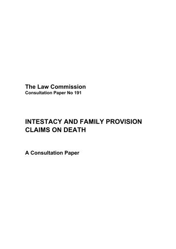 intestacy and family provision claims on death - Law Commission ...