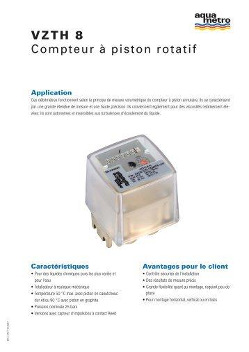VZTH 8 Compteur à piston rotatif - Aquametro AG
