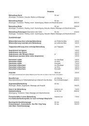 Preisliste Behandlung Quick 30 min Abreinigen, Tonisieren - Aquana