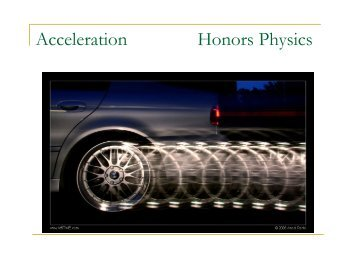 Acceleration Honors Physics