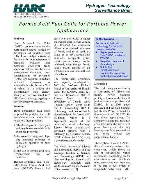 Formic Acid Fuel Cells for Portable Power Applications