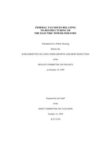 JCX-72-99 - Joint Committee on Taxation