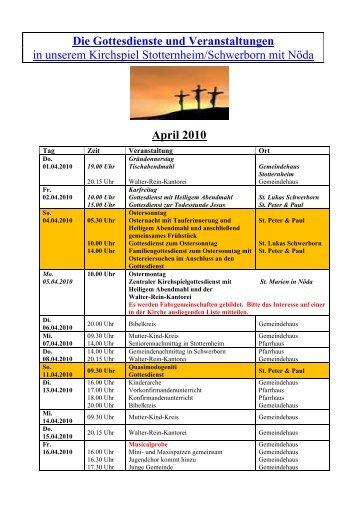 Die Gottesdienste und Veranstaltungen - Kirchspiel Stotternheim