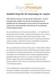 Qualitäts-Siegel für die Saunaanlage des Aquana