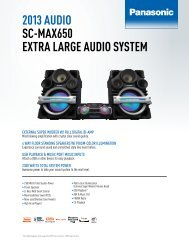 spec sheet - Panasonic