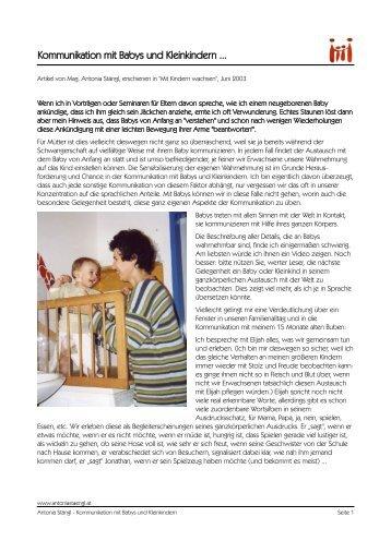 kommunikation mit babys und kleinkindern antonia st ngl. Black Bedroom Furniture Sets. Home Design Ideas