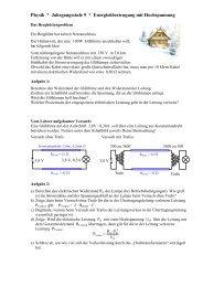 Physik * Klasse 9b * Energieübertragung mit Hochspannung
