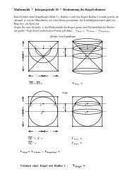 Mathematik * Jahrgangsstufe 10 * Bestimmung des Kugelvolumens ...