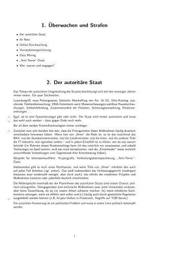 1.¨Uberwachen und Strafen 2. Der autoritäre Staat