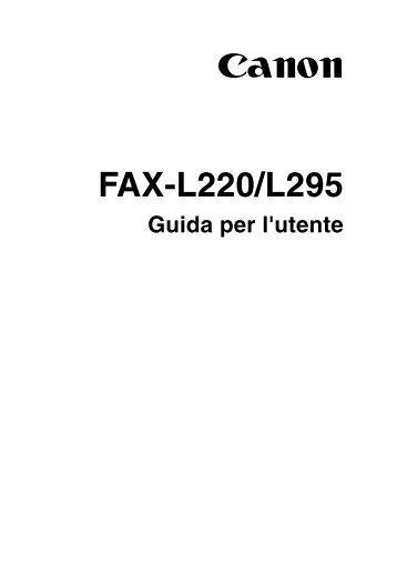 FAX L220 L295 UG ITA - Canon Europe