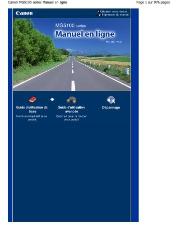 Canon MG5100 series Manuel en ligne - Canon Europe