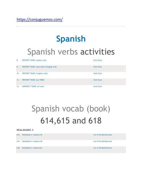 Spanish Spanish Verbs Activities Spanish Vocab Book 614 615 And