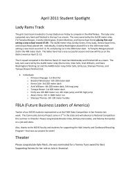 April 2011 Student Spotlight Lady Rams Track FBLA ... - Katy ISD