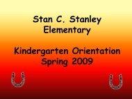 Stan C. Stanley Elementary Kindergarten Orientation Spring 2009
