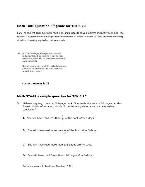 Math TAKS Question 6th grade for TEK 6.2C Math STAAR example ...
