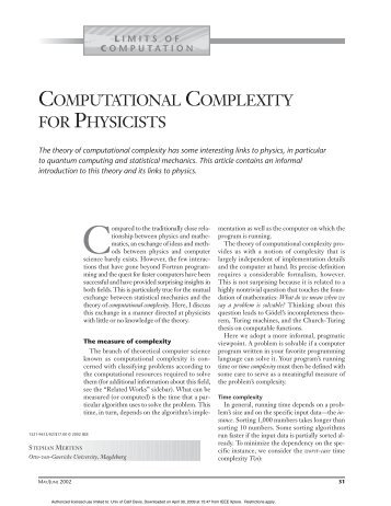 Computational complexity for physicists - Computing in Science ...