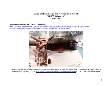 Examples of redundancy and survivability in aircraft EAE 135, Winter ...