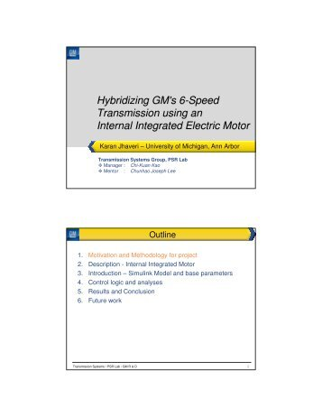 Hybridizing GM's 6-Speed Transmission using an Internal Integrated ...