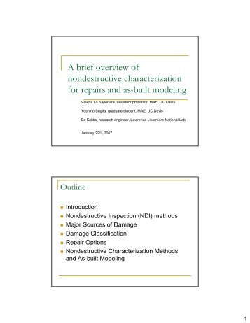 A brief overview of nondestructive characterization for repairs and as ...