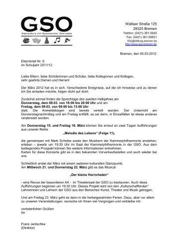 Elternbrief Nr. 6 vom 5. März 2012 - Bremen