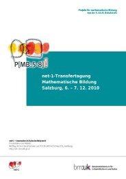 Bericht Transfertagung Salzburg (6. - 7. 12. 2010) - net-1-Buch ...