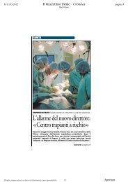 Trapianti di fegato a rischio - Rassegna Stampa Uniud