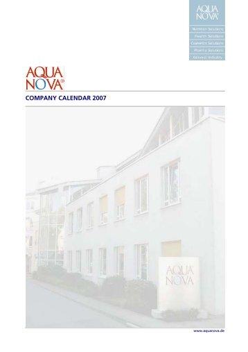 COMPANY CALENDAR 2007 - Aquanova