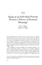 Emergent theories of aging - Gary Reker's Website
