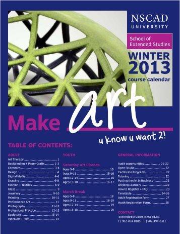 winter 2013 course calendar - Nova Scotia College of Art and Design