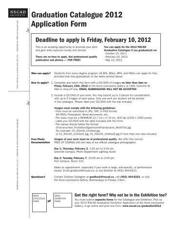 Graduation Catalogue 2012 Application Form