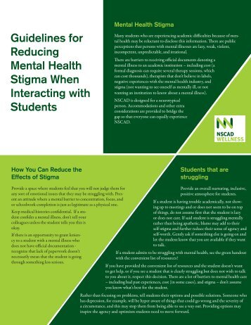 Guidelines for Reducing Mental Health Stigma When Interacting ...
