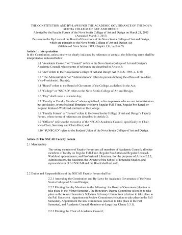 Constitution and By-Laws for the Academic Governance of NSCAD ...