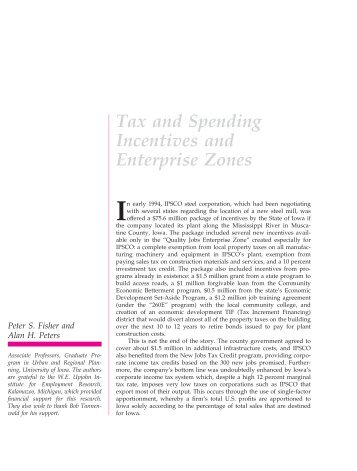 Tax and Spending Incentives and Enterprise Zones - Department of ...