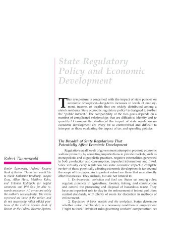 State Regulatory Policy and Economic Development - Department of ...