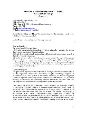Course Syllabus - Department of Geography - Texas A&M University