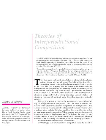 Theories of Interjurisdictional Competition - The Federal Reserve ...