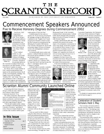 Commencement Speakers Announced - The University of Scranton
