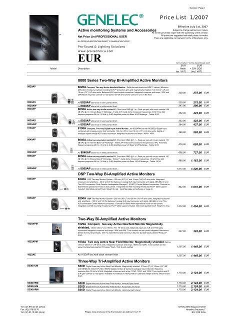 Pro Monitoring Price List pdf - Musicworld bg