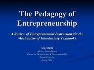 The Pedagogy of Entrepreneurship - Commerce, Organizations, and ...